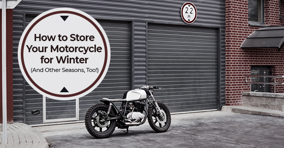 vintage custom motorcycle storage during winter season