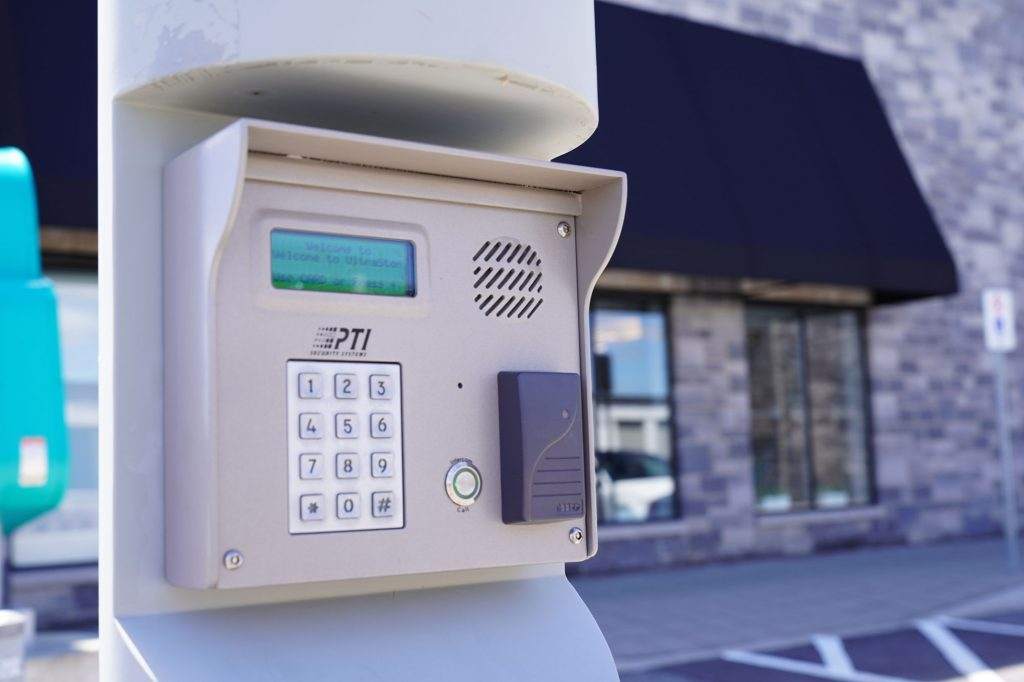 A secure UltraStor lock, featuring key card access, code access and a speaker for added security. The UltraStor building is in the background.